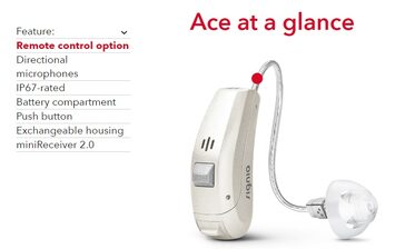 Ace: The smallest of our behind-the-ear hearing aids.